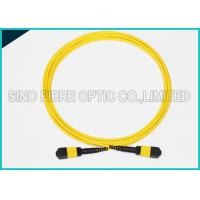 Quality 3.0mm Low Insertion 24x Lanes MTP Female Fiber Optic OS2 Singlemode Trunk Yellow Cable for sale