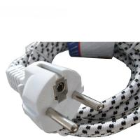 Buy European electric iron power cords, VDE cotton braid power cables with schuko at wholesale prices