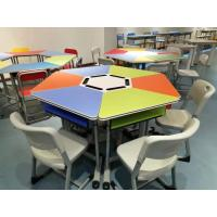 Quality Colourful Six Joint Student Desk And Chair Set PVC Edge For Training Room for sale