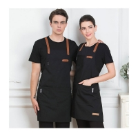 Quality Black Blue Green China Manufacture Durable Cotton Kitchen Apron for Cooking Chef 7-Eleven Aprons with Customized Logo for sale