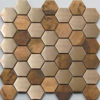 Quality Metallic Copper Mosaic Tile Backsplash , Hexagon Stainless Steel Subway Tile for sale