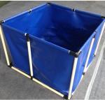 Fireproof 4000L Tarpaulin Fish Tank With Blue Fish Pond Liner Environmental PVC