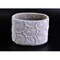 Quality Decoration flower round cement candle holder Hand made engraving for sale