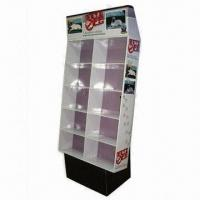 Quality Cardboard Display Stand, Made of B-flute Material with 10 Pockets to Displayed Products for sale