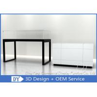Quality Glossy White Glass Jewelry Counter Display / Jewelry Showcases for sale