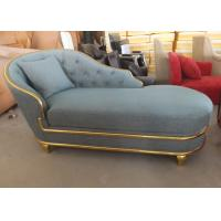 Quality Green Hotel Lounge Chairs , Contemporary Chaise Lounge With Gold Edge for sale