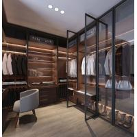Quality Glass Wardrobe Step-in Cloakroom Brown Glass Metal Frame Glass Door Board Wardrobe for sale