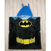 Quality Black Spiderman Thick Poncho Beach Towel / Baby Bath Towels With Soft Blue Hooded for sale