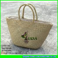 Quality LUDA wholesale natural purse and handbags logo printed seagrass straw handbags for sale