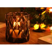 Quality Handmade Candle Holders Glass , Dimond Glass Candle Jar Customed Color for sale