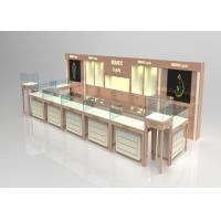 Quality Wooden Glass Beige Color Jewellery Shop Display Cabinets , Jewelry Display Plinths for sale