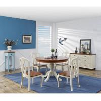 Quality Mediterranean Style Dining room Furniture by wood table and chairs with Buffet Cabinet in white/blue painting for sale