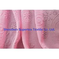 Quality 75D Polyester Pearl GGT Pink Chiffon Fabric With Embossed Flowers for sale