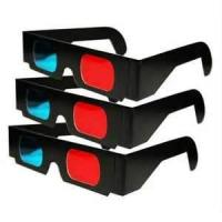 Quality Custom red cyan anaglyph 3D Black Cardboard Paper Spectacles, 3D Paper virtual Glasses for sale