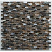 Quality Coffee Stone Glass Kitchen Mosaic Tiles , Interlocking Fireplace Mosaic Tile for sale