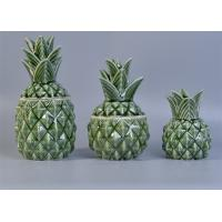 Quality 230ml green pineapple ceramic reed diffuser bottles with leaf lid for home deco for sale
