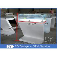 Quality Customized Matte White Jewelry Display Cases Wood MDF + Glass + Lights + Locks for sale