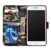 Protective IPhone 6s Leather Wallet Case , Camo Color Flip Leather Case Folio Style