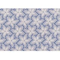 Quality Blue / White Floral French Lace Fabric By The Yard For Swimwear / Toy for sale
