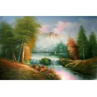 Quality crystal painting golden autumn wall art picture for sale