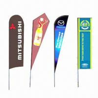 Quality Beach Flags with Teardrop and Bowhead, Suitable for Outdoor Advertising, Exhibitions and Events for sale