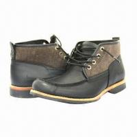 Quality Men's Fashionable Leisure/Leather Shoes with Stacked Heels, Black, Breathable for sale