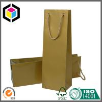 China Single Bottle Red Wine Paper Bag; Gold Color Paper Wine Bag with PP Handle on sale