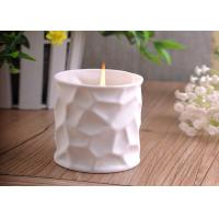 Quality White Tealight Ceramic Candle Holder Embossment 290ml Large Capacity for sale