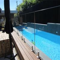 Buy cheap Swimming Pool Flooring mount Tempered glass balustrades with steel spigots from wholesalers