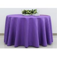 Quality Custom Ivory Round Decorative Linen Table Cloths Polyester Jacquard Fabric for sale