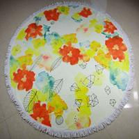 Buy reactive custom printing cotton terry velour round beach towels circular beach towels at wholesale prices