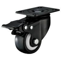 Quality Small Furniture PU Caster Wheel With Swivel Plate Total Locking Black Bracket for sale