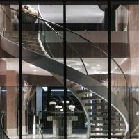 Quality Curved Staircase / Modern Marble Staircase / Helical Staircase with Glass Railing for sale