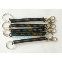 Quality Popular Trigger Snap Black Coiled Key Lanyard W / Split Ring & Metal Clip for sale