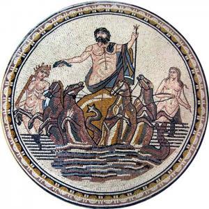 Quality Neptune God Of Sea Round Mosaic Art Patterns Handmade Mosaic Craft Tiles 100 X 100cm for sale