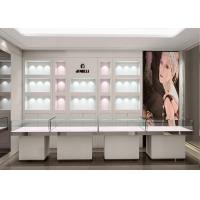 Quality Crystal Tempered Glass Top Showroom Display Cases Decorated With Pole Lights for sale