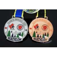 Quality Canada Sports Skiing Events Custom Metal Medals, Raised Metal Shiny And Recess Mett Effect, Sublimated Ribbon for sale