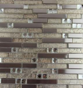 Quality Mix Colored Metallic Subway Tile Backsplash , Interlocking Metallic Kitchen Tiles for sale