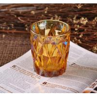 Quality Colorful Glass Candle Jar Decorative Glassware With Color Ion Plating Finish for sale