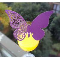 Quality lace unique laser cut place cup cards butterfly shape cup card for wedding for sale