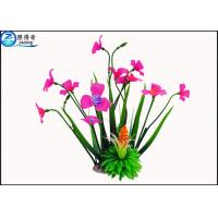 Quality Rose Red Plastic Aquatic Plants With Resin Base Fish Tank Background Artificial Plants for sale