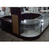Buy Crystal Tempered Glass Jewelry Kiosk Furniture Full View Round Shape With Lights at wholesale prices