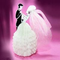 China Bridal Couple with Veil Party Decoration, Made of Paper Cardboard, Measures 22cm on sale