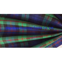Quality Green Blue Plaid Yarn Dyed Elastic Stretch Fabric Polyester Twill / Drill for Men's Lady's uniforms for sale