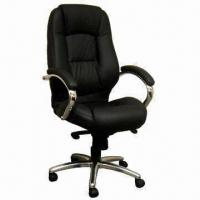 Quality Executive Leather Chair with PU Seat and Back Cushion, Armrest, Steel Base/Nylon Caster for sale