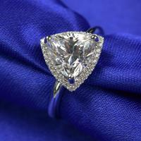 Buy cheap Trangle Shape 3 Carat Moissanite Ring 3.05 Grams Gold Weight Customized Packing from wholesalers