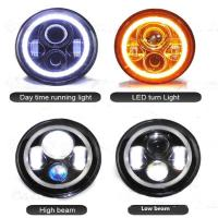Quality 7 inch Round Jeep Wrangler LED Headlights With Halo Ring Angel Eyes 70Watt , with 3700 Lumens headlight for Jeep for sale