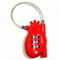 Quality 3 digits heart shape combination lock with cable for sale