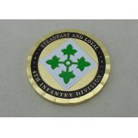 Quality 4Th Infantry Division Custom Made Coins Brass Army Coin 2.0 Inch With Gold for sale