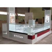 Buy Watch Custom Mall Kiosk Crystal Glass Combine Wood With LED Spot Lights at wholesale prices